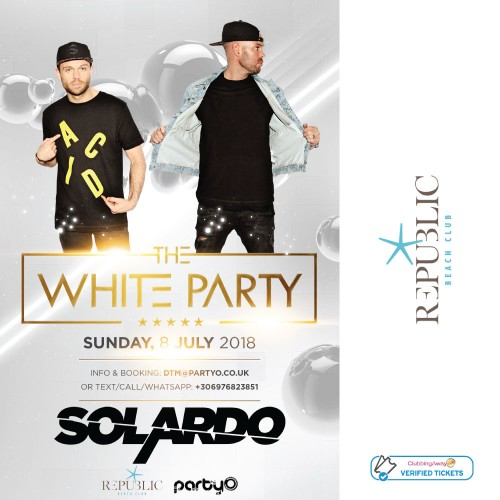 The White Party - 8th July - SOLARDO - Republic Beach Club, Zante